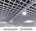 row of bright halogen... | Shutterstock . vector #724196533