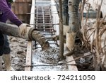 concrete casting work by pump... | Shutterstock . vector #724211050