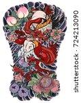 japanese tattoo design full...   Shutterstock .eps vector #724213090