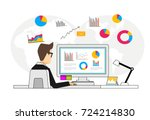 concept of business analyst.... | Shutterstock .eps vector #724214830