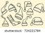 winter clothes. santa stocking... | Shutterstock .eps vector #724221784