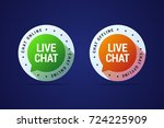 live chat button for websites... | Shutterstock .eps vector #724225909