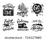 monochrome travel labels set... | Shutterstock .eps vector #724227880