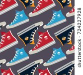 pictures of colored sneakers.... | Shutterstock .eps vector #724227928