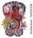 japanese tattoo design full... | Shutterstock .eps vector #724231138