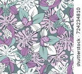 tropic seamless pattern with... | Shutterstock .eps vector #724234810