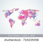 polygonal world map for... | Shutterstock .eps vector #724235458
