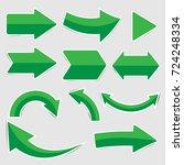 set of green paper arrow... | Shutterstock .eps vector #724248334