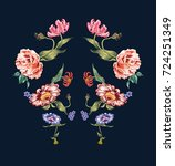 reflect  flowers embroidery... | Shutterstock .eps vector #724251349