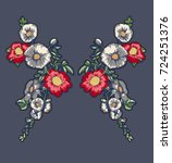 embroidery flowers patch...   Shutterstock .eps vector #724251376