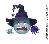 smiley of evil witch in a black ... | Shutterstock .eps vector #724257874