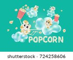 popcorn on the clouds. airy...   Shutterstock .eps vector #724258606