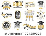 set of class of 2018 badges.... | Shutterstock . vector #724259329