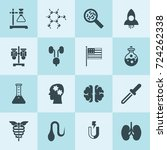 simple 16 set of science filled ... | Shutterstock .eps vector #724262338