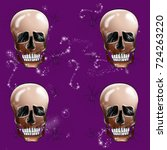 skull background  halloween... | Shutterstock . vector #724263220