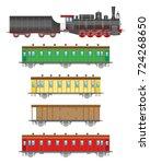 flat  retro railway locomotive  ... | Shutterstock . vector #724268650