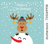 Christmas Card With Reindeer...