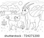 childrens cartoon coloring book.... | Shutterstock .eps vector #724271200
