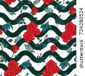 rose seamless pattern  vector... | Shutterstock .eps vector #724280524