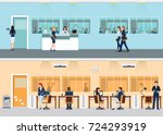 modern office with desk and... | Shutterstock .eps vector #724293919