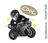 biker with black motorcycle ... | Shutterstock .eps vector #724297330