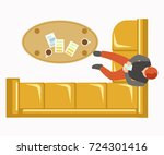 lounge zone at office with soft ... | Shutterstock .eps vector #724301416