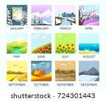 four seasons month nature... | Shutterstock .eps vector #724301443