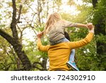 mother and daughter outdoors in ... | Shutterstock . vector #724302910