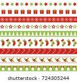 christmas seamless borders.... | Shutterstock . vector #724305244