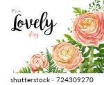 vector floral watercolor card... | Shutterstock .eps vector #724309270