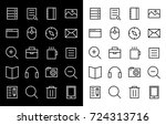 flat vector icons with a thin... | Shutterstock .eps vector #724313716