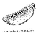 hot dog engraving vector... | Shutterstock .eps vector #724314520