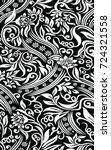 black and white floral pattern   Shutterstock .eps vector #724321558