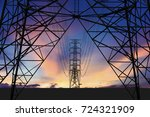 Silhouette Image. High Voltage...