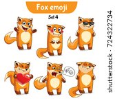 vector set of cute fox... | Shutterstock .eps vector #724322734