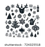 christmas clipart set with cute ... | Shutterstock .eps vector #724325518