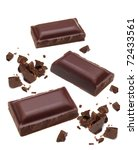 dark chocolate pieces on white... | Shutterstock . vector #72433561