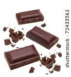 broken dark chocolate pieces... | Shutterstock . vector #72433561