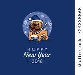 english bulldog congratulates... | Shutterstock .eps vector #724338868