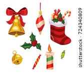 set of christmas holiday... | Shutterstock .eps vector #724340809