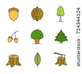 forestry color icons set.... | Shutterstock . vector #724344124