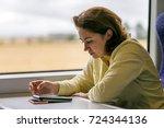 portrait of girl on the train... | Shutterstock . vector #724344136