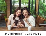 two young business women...   Shutterstock . vector #724344358