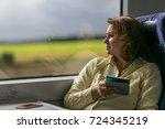 portrait of girl in train  | Shutterstock . vector #724345219