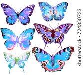 beautiful blue butterfly... | Shutterstock . vector #724350733