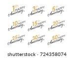 set of happy anniversary... | Shutterstock .eps vector #724358074