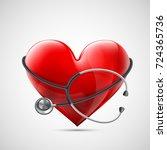 medical equipment stethoscope... | Shutterstock .eps vector #724365736