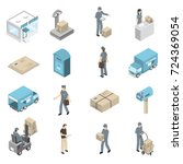 post office service isometric... | Shutterstock . vector #724369054