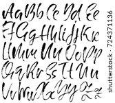 hand drawn dry brush font.... | Shutterstock .eps vector #724371136