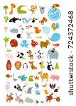 big vector set of animals. cow  ... | Shutterstock .eps vector #724372468